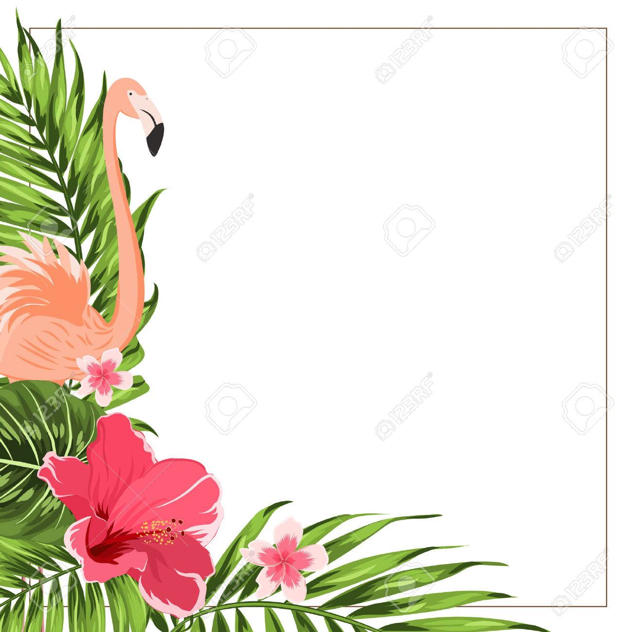 Tropical exotic greenery corner border frame template flamingo tropical exotic greenery corner border frame template flamingo bird hibiscus and plumeria flowers izmirmasajfo