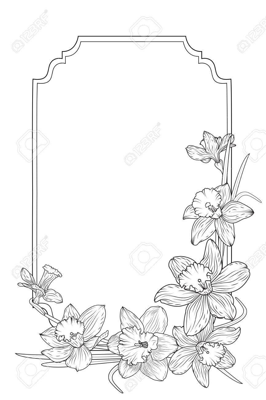 Frühlings-Blumenrand-Rahmen-Vorlage Mit Verzierter Ecke. Narzissen ...