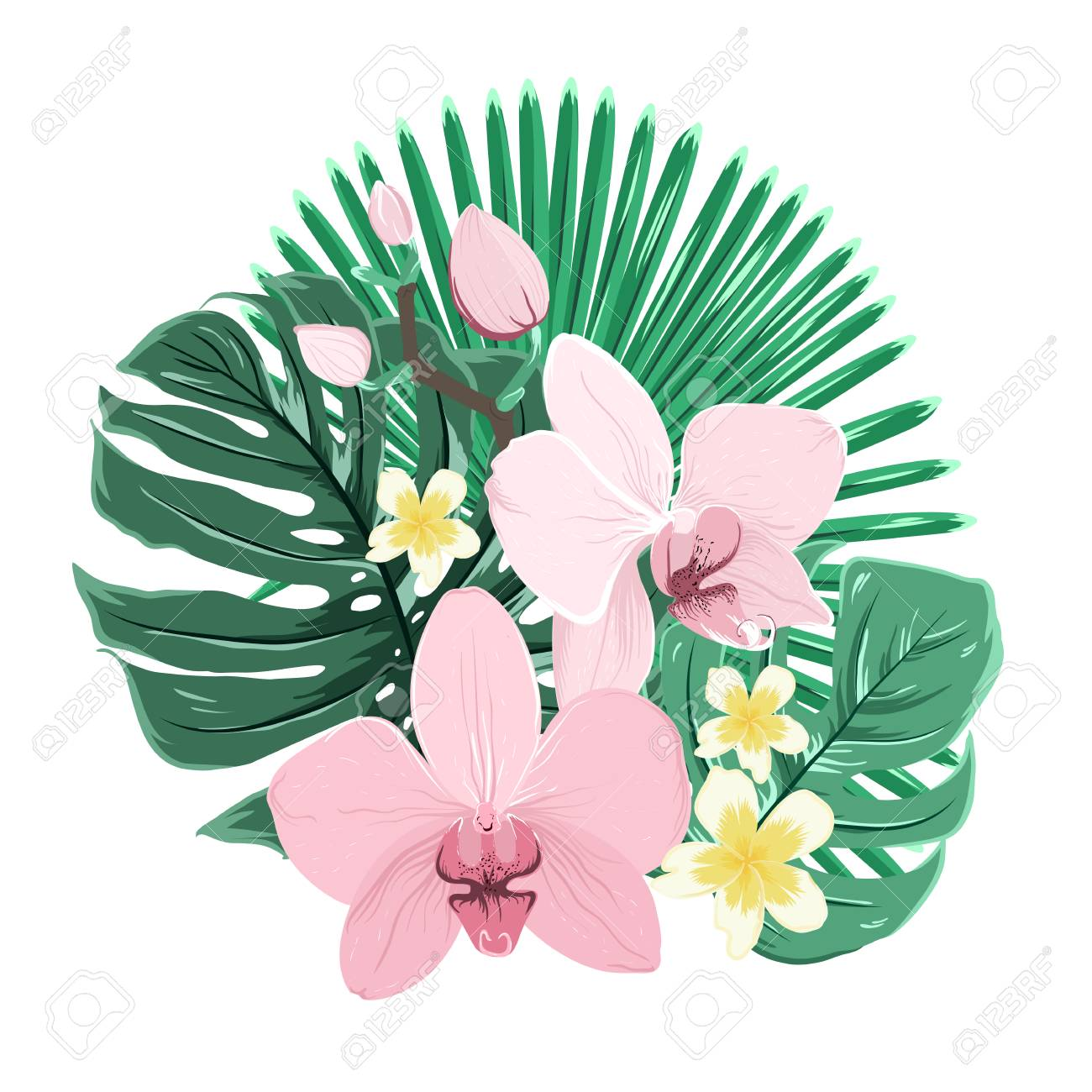 Bouquet Composition Of Exotic Tropical Flowers And Green Jungle ...