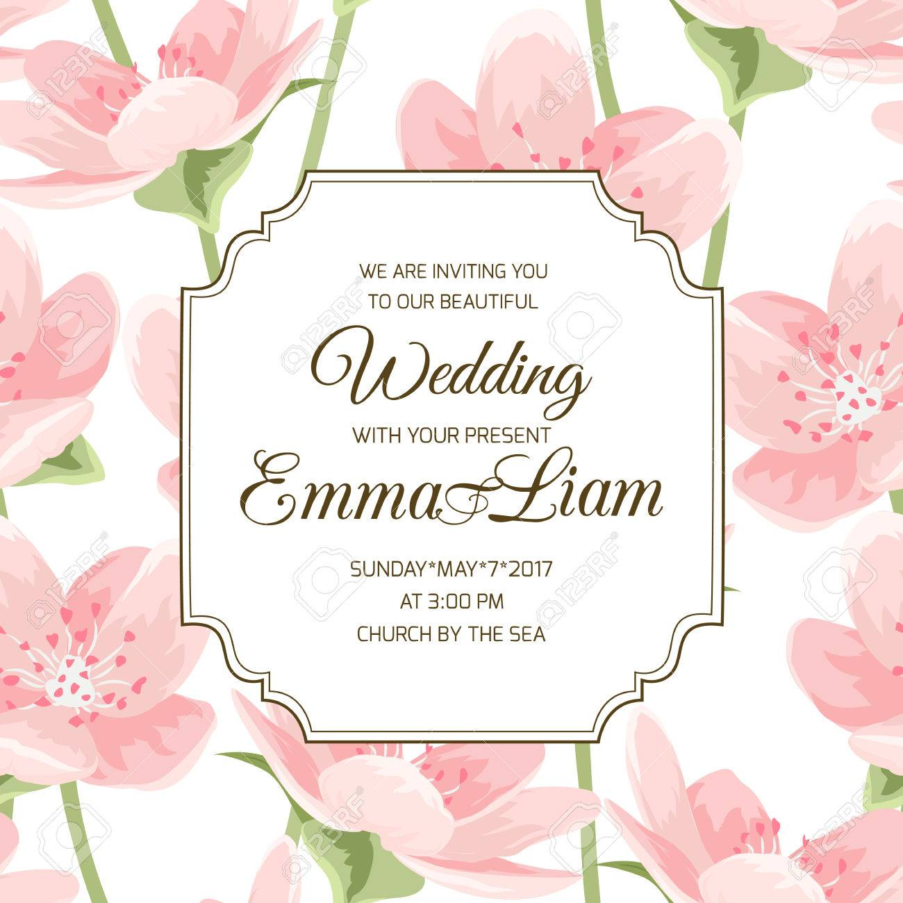 Wedding event invitation card blooming spring sakura magnolia vector wedding event invitation card blooming spring sakura magnolia cherry blossom flowers pink petals on white background stopboris Images