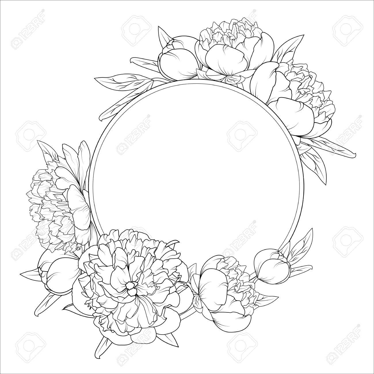 Rose Couronne De Printemps Fleurs Dété Couronne De Cadre Rond Dessin Détaillé Dessine Le Dessin Vectoriel En Noir Et Blanc Marqueur De Modèle