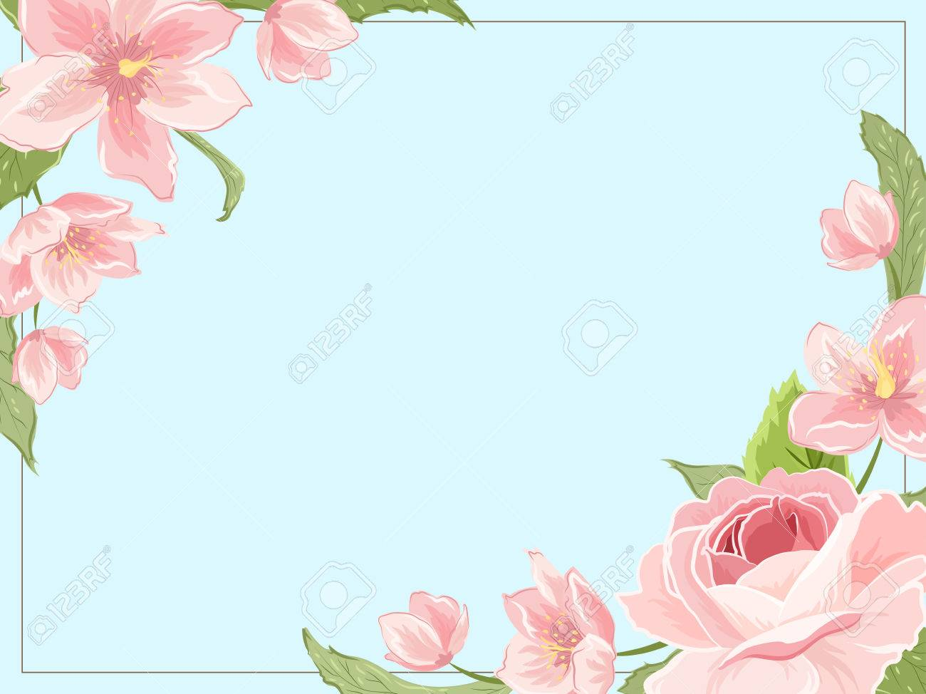 border frame template corners decorated with pink rose magnolia