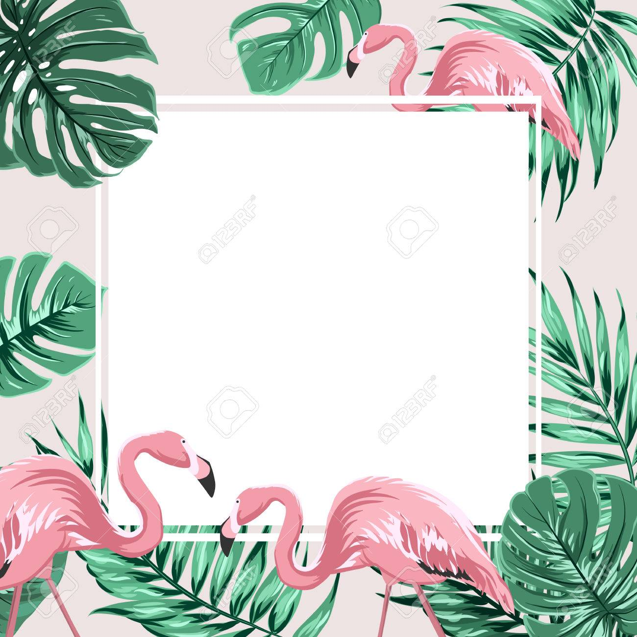 exotic tropical border frame template with bright green jungle