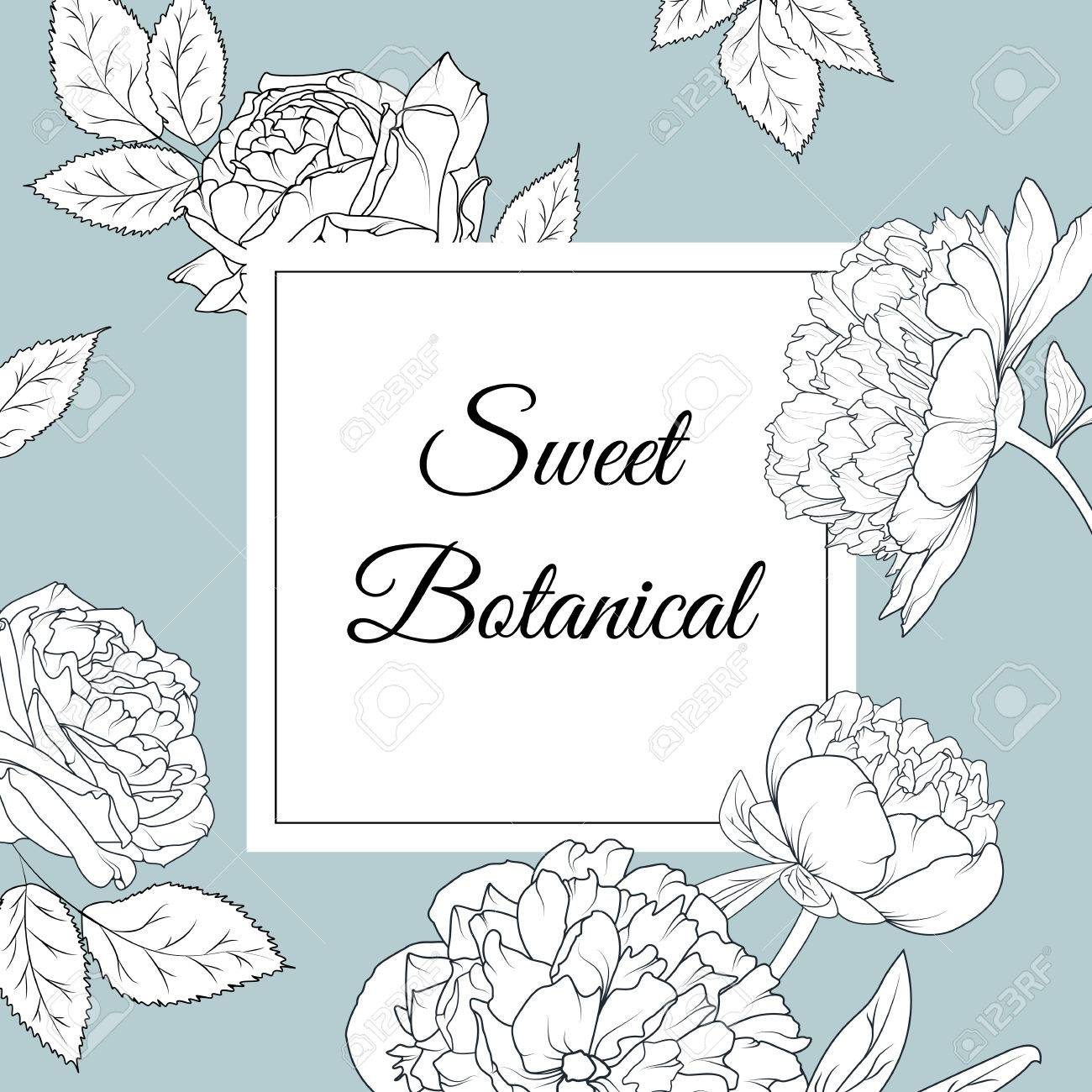 botanical peony rose flowers wedding invitation card template