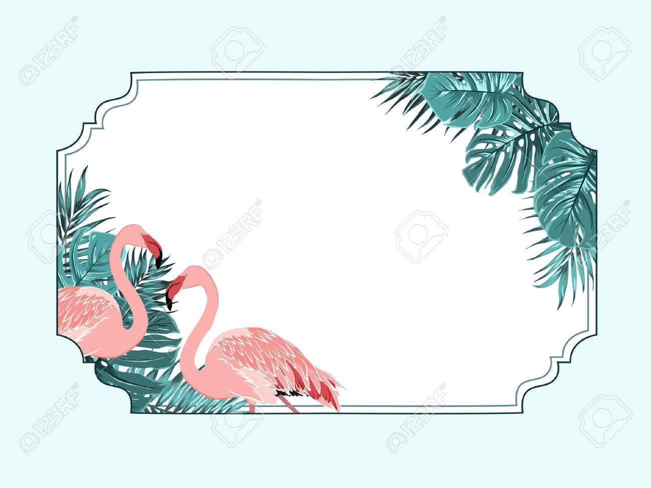 flamingo tropical decorative horizontal border frame template