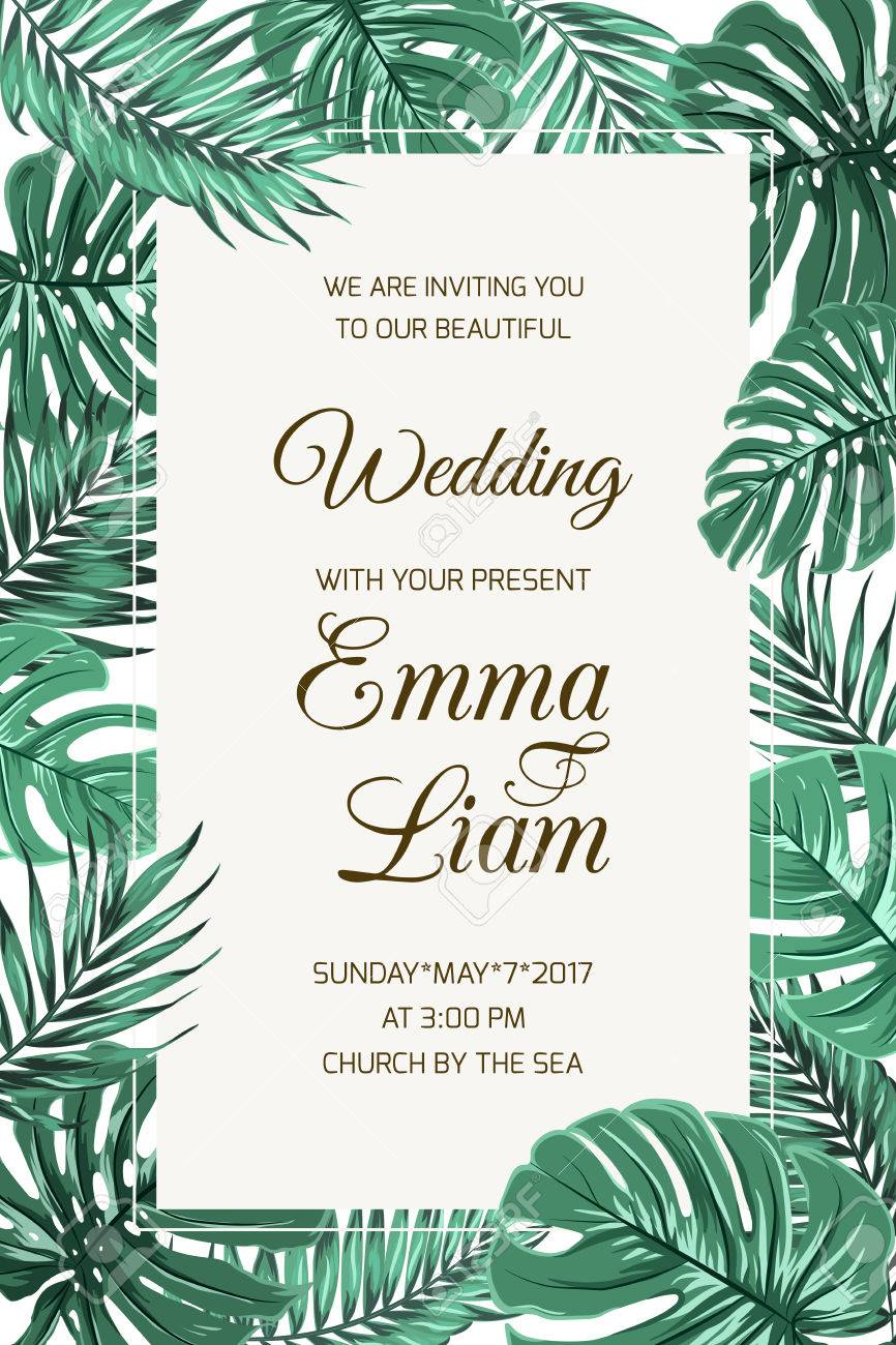 Wedding Event Invitation Card Template Exotic Tropical Jungle