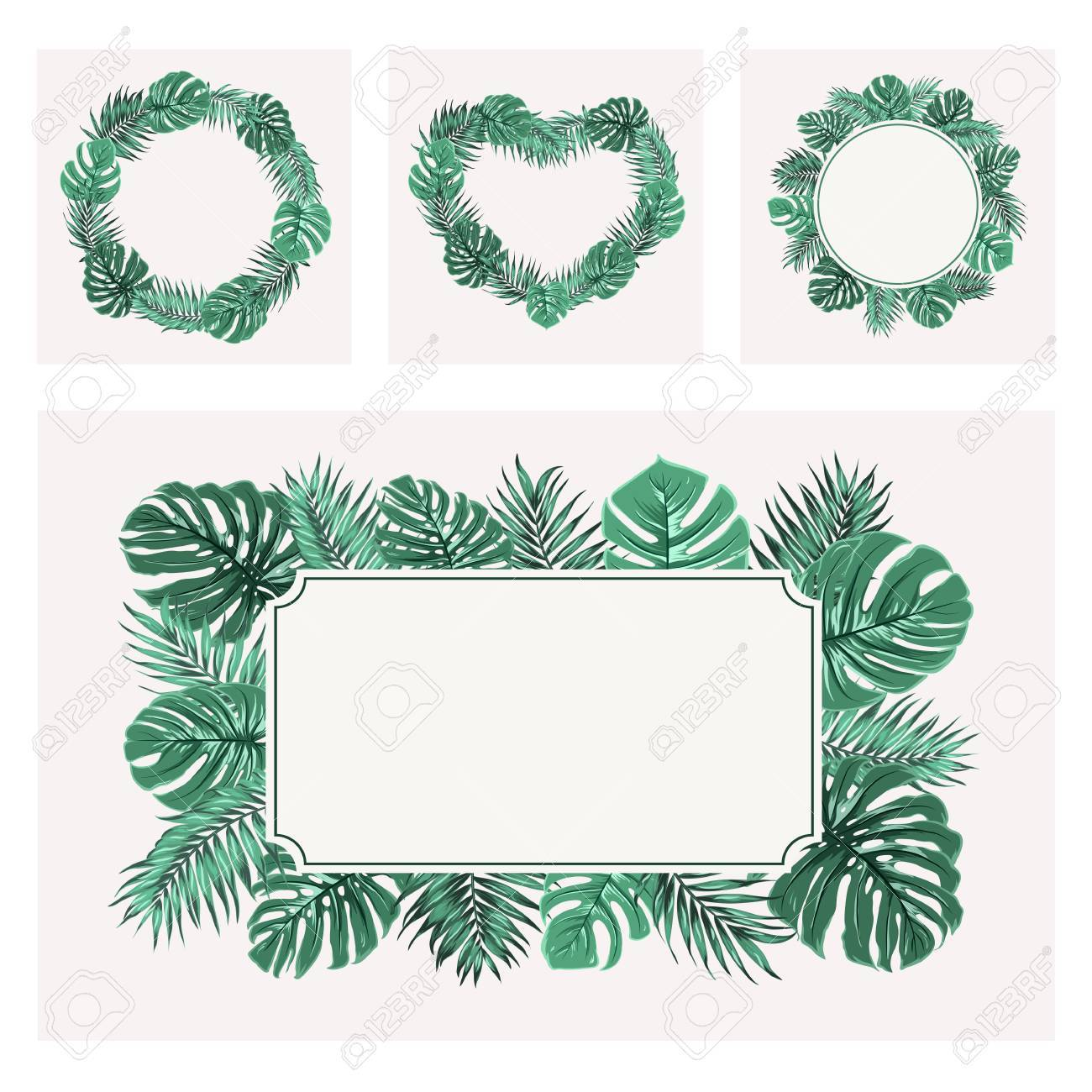 Exotic Tropical Greenery Border Frame Templates Set Rectangular