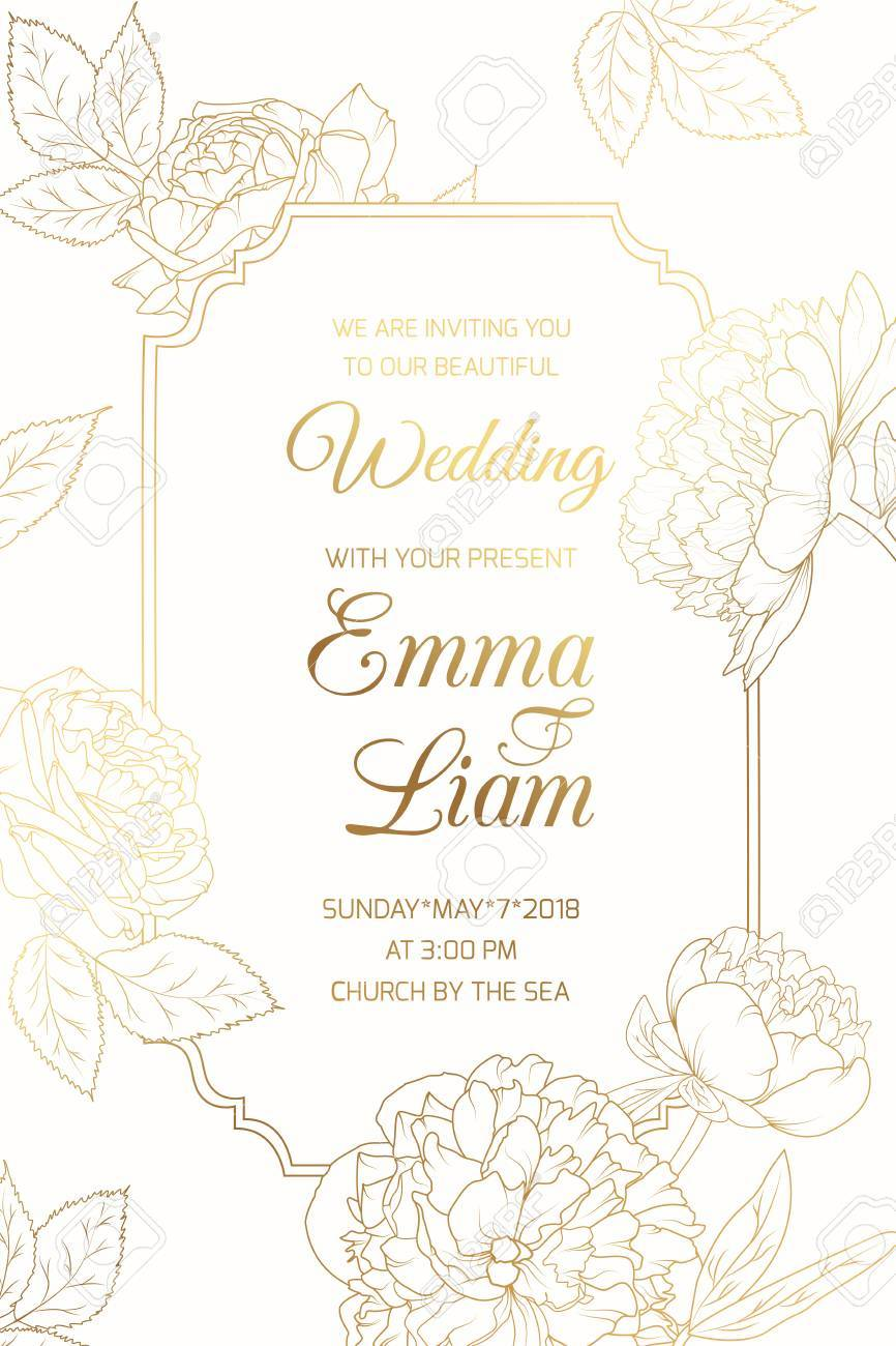 Wedding Event Invitation Vintage Card Template. Border Frame ...