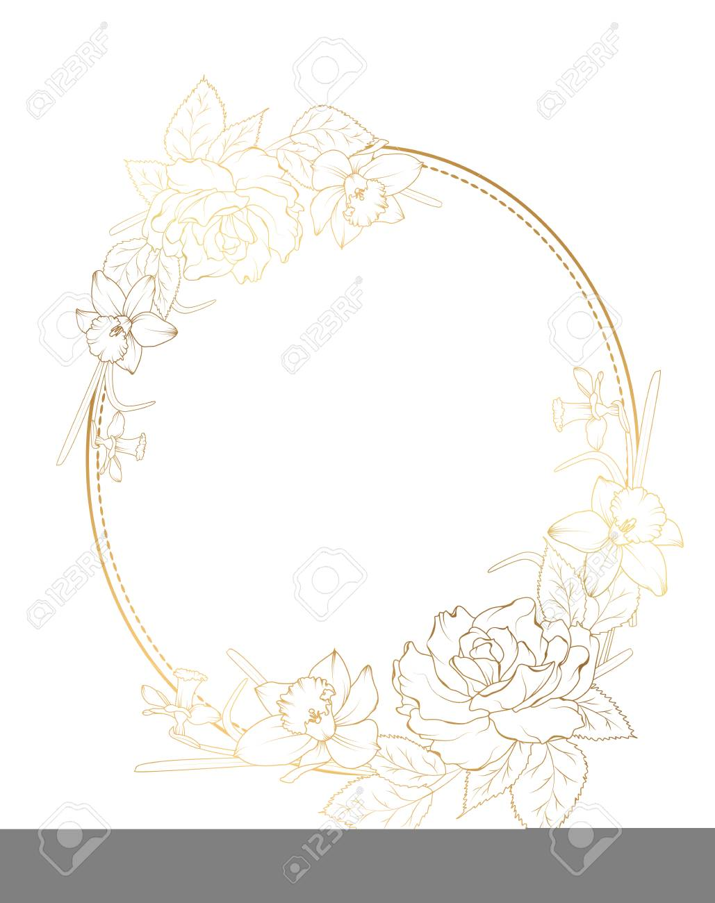 0a19ea99a4a8 Oval border frame decorated with rose peony daffodil narcissus flowers.  Bright shining gold gradient color