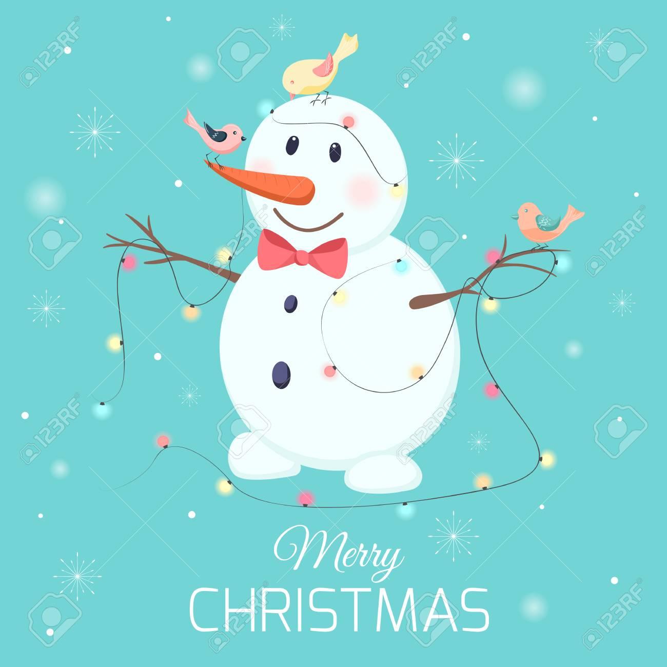 Carotte Bleue pour bonhomme de neige blanc heureux personnage de dessin animé souriant