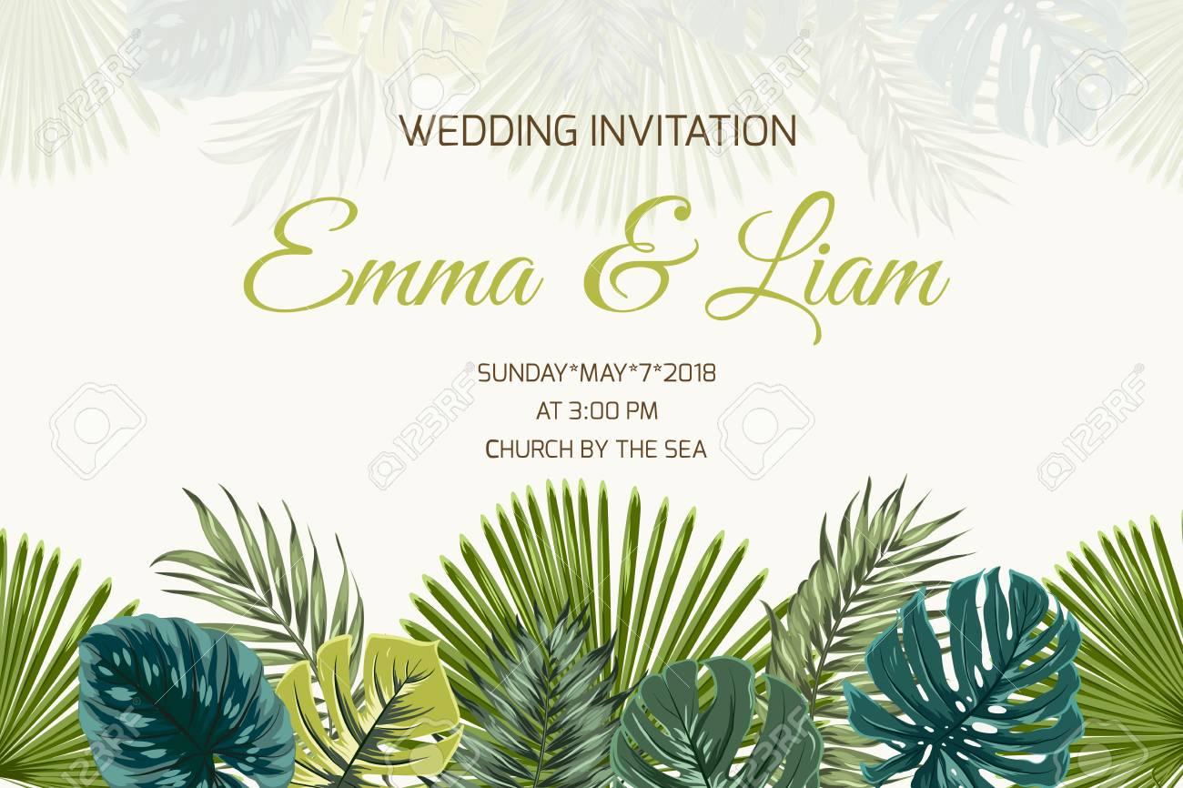 Plantilla De Tarjeta De Invitación De Boda Matrimonio Evento El Monstera Verde Claro Tropical Exótico De La Palmera Y De La Turquesa De La Selva
