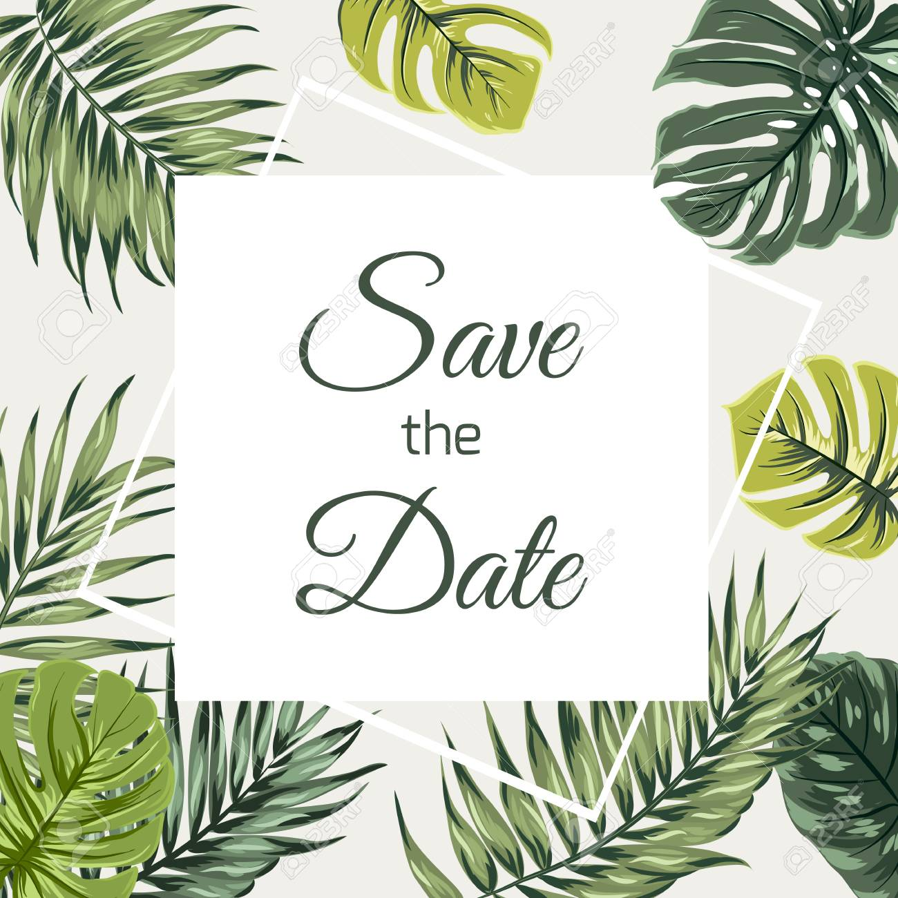 Save The Date Wedding Event Invitation Card Template Exotic