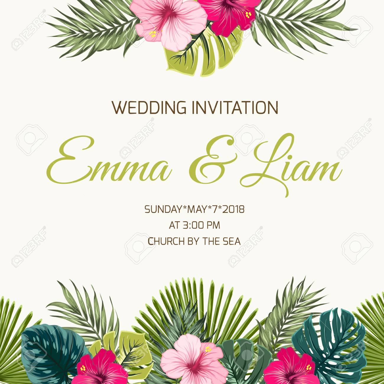 Plantilla De Diseño De Tarjeta De Invitación De Boda Hojas Verdes Exóticas Del Verdor Y Flores De Hibisco Púrpuras Rojas Rosadas Brillantes