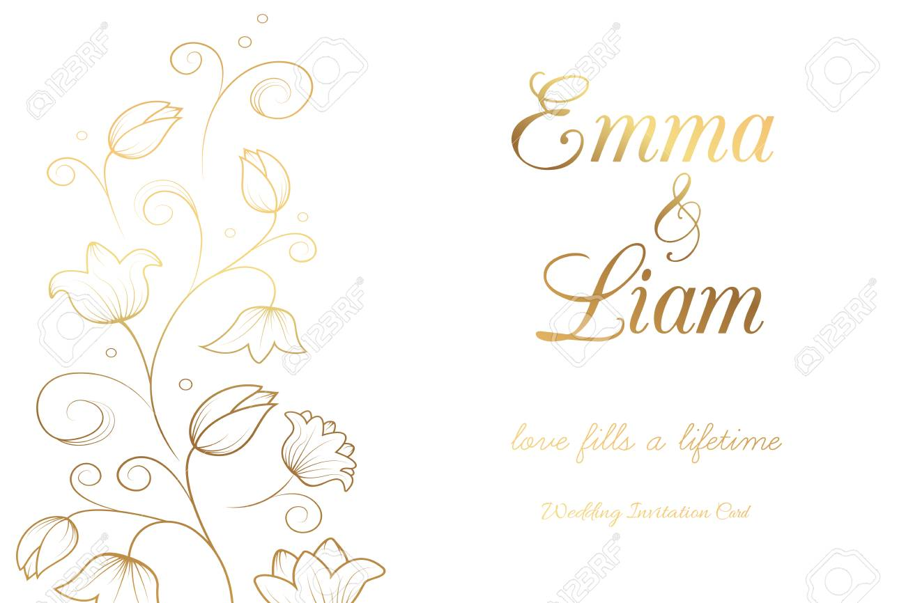 Wedding Invitation Card Template. Tulip Lily Bell Flowers. Gold ...
