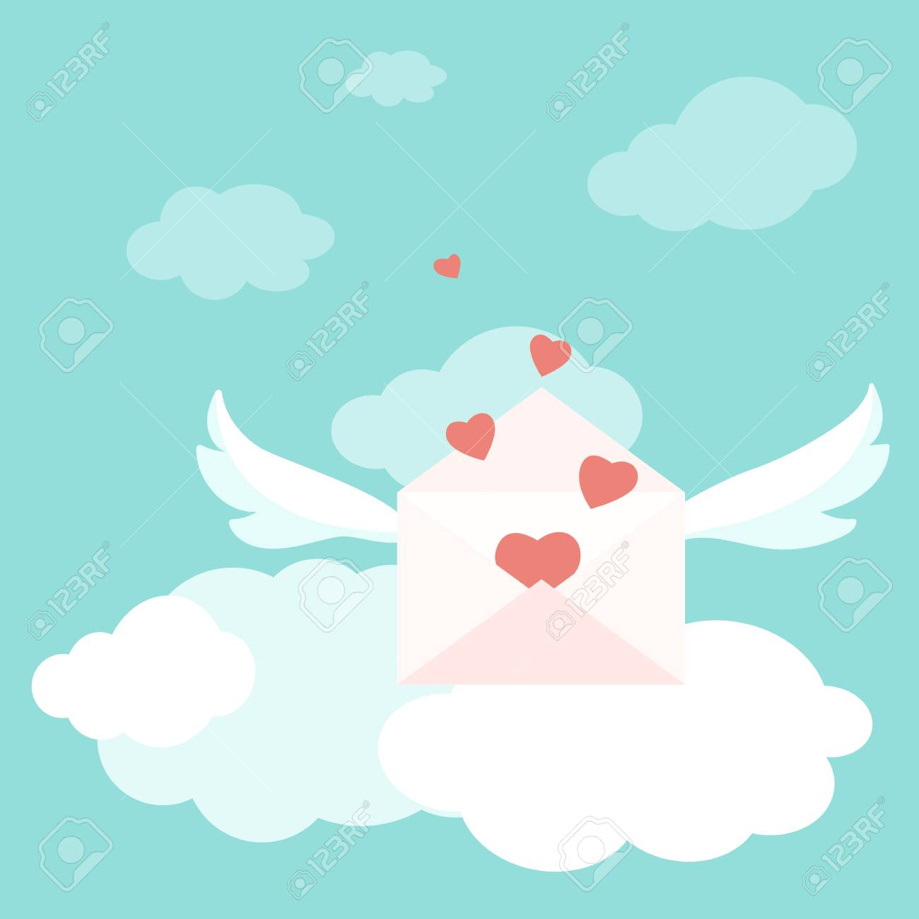 Valentine day greetings delivery concept flying love letter stock illustration valentine day greetings delivery concept flying love letter envelopes with wings filled with red heart shapes bright blue sky with fluffy m4hsunfo