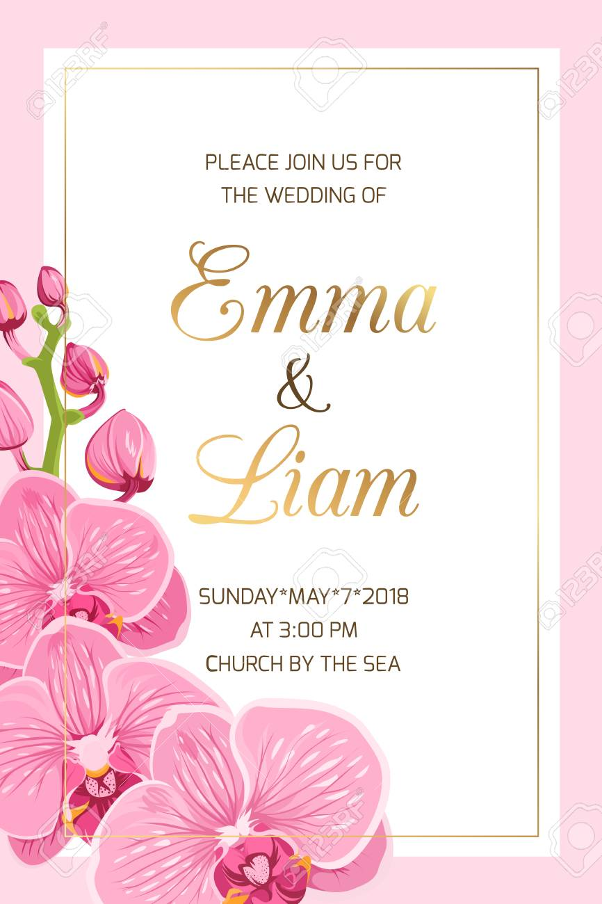 Wedding Event Invitation Card Template On Pink Background Rectangular