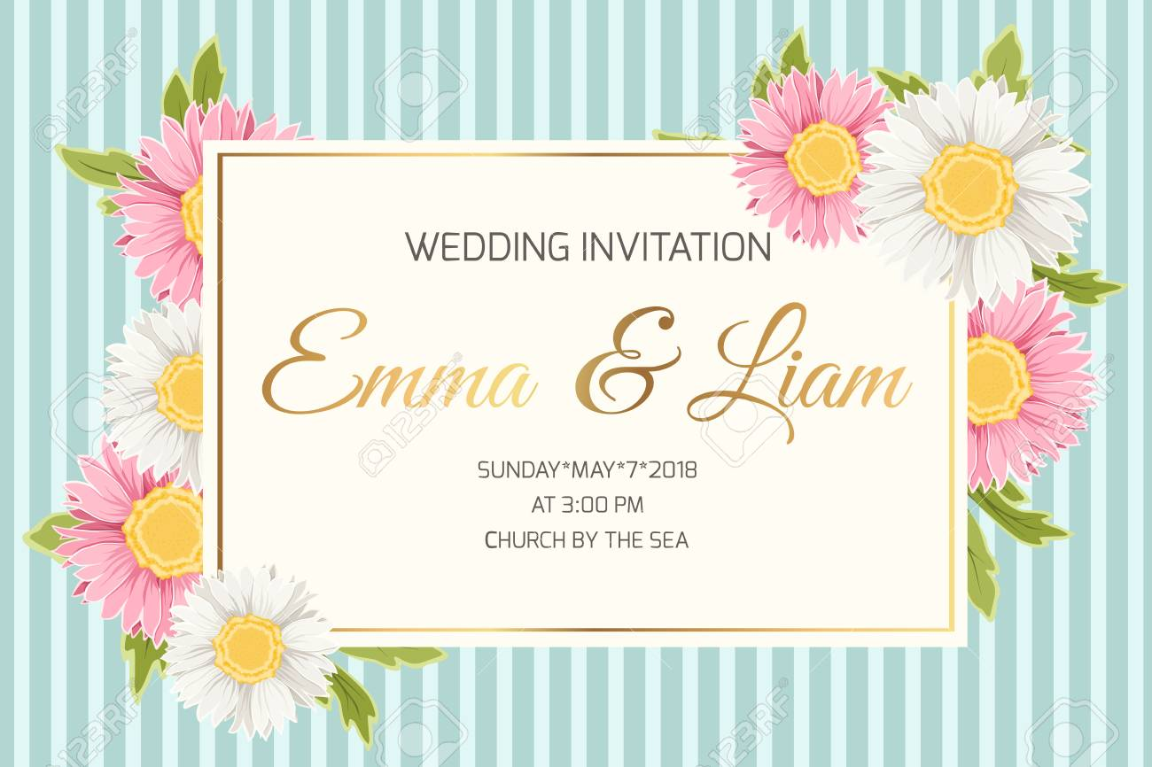 Wedding Marriage Event Invitation Card Template. Colorful Pink ...