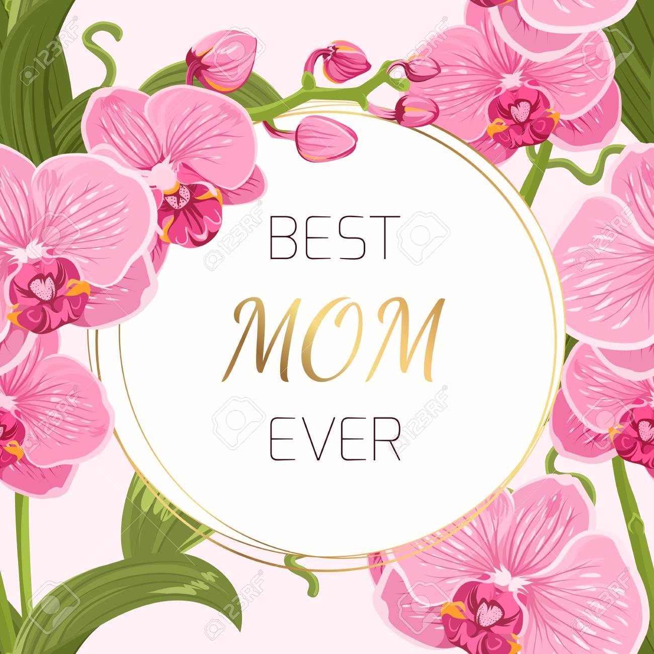 Mothers Day Greeting Card Template. Round Border Circle Frame ...
