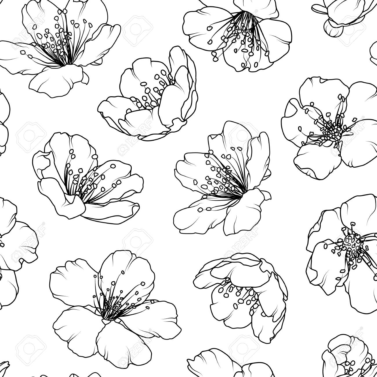 Cherry Sakura Tree Flowers Bloom Blossom Floral Seamless Pattern