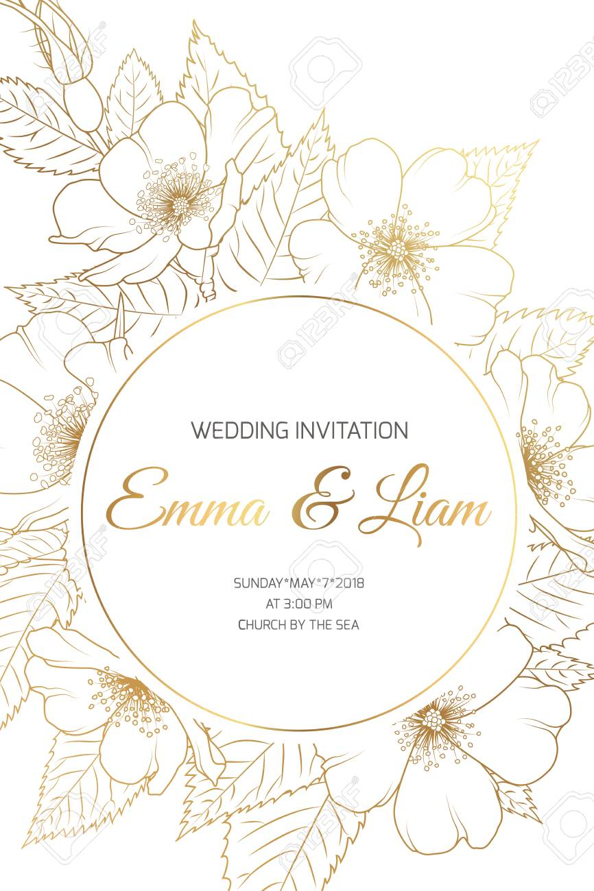 Wedding Mariage Event Invitation Card Template Circle Ring Round Royalty Free Cliparts Vectors And Stock Illustration Image 99726046