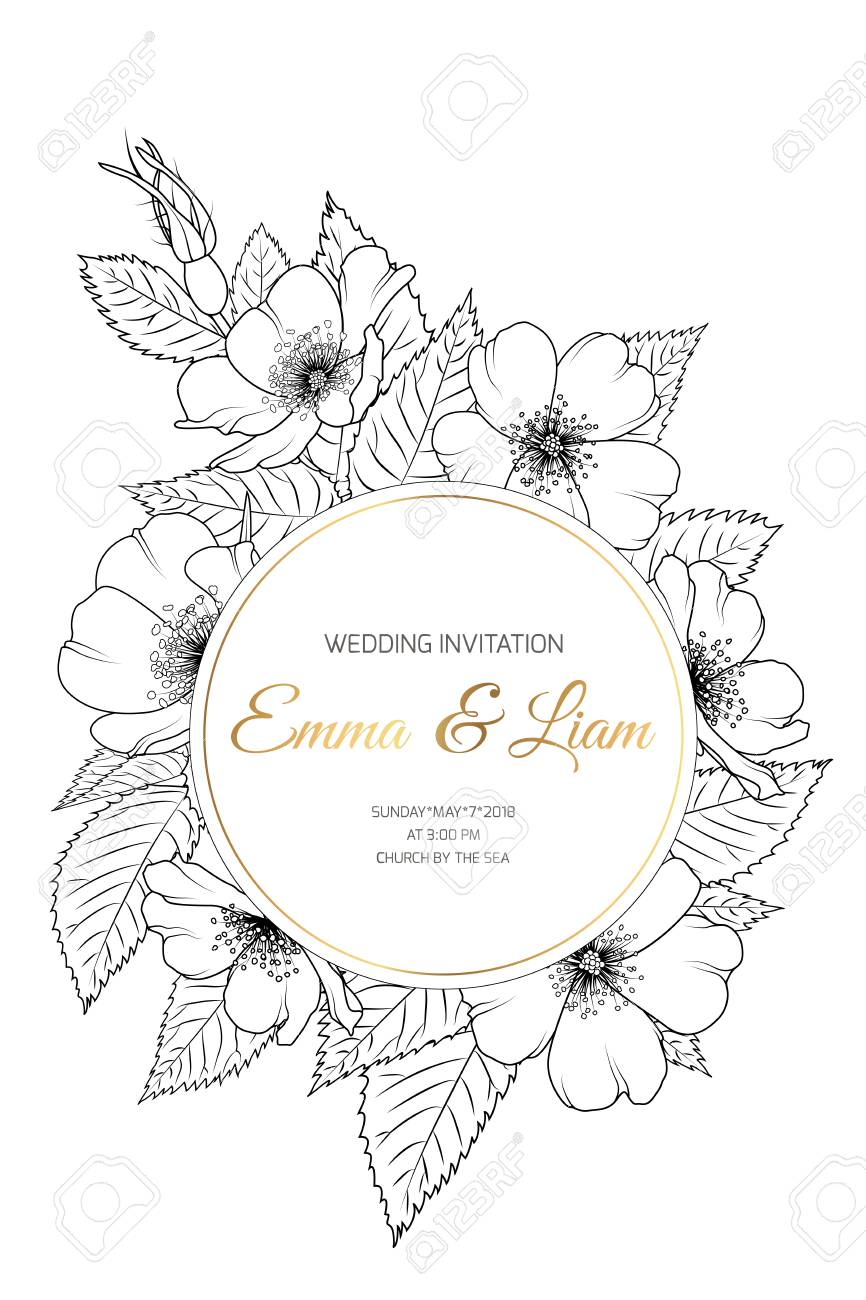 Wedding Event Invitation Card Template Wreath Ring Circle Border