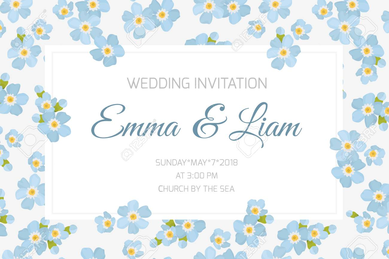 Wedding Marriage Event Invitation Card Template Rectangular