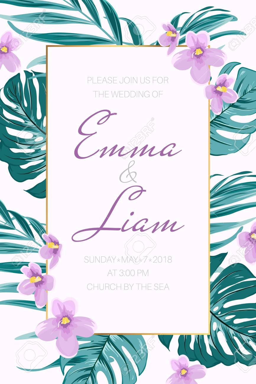 Wedding Event Invitation Card Template Border Frame Exotic Tropical