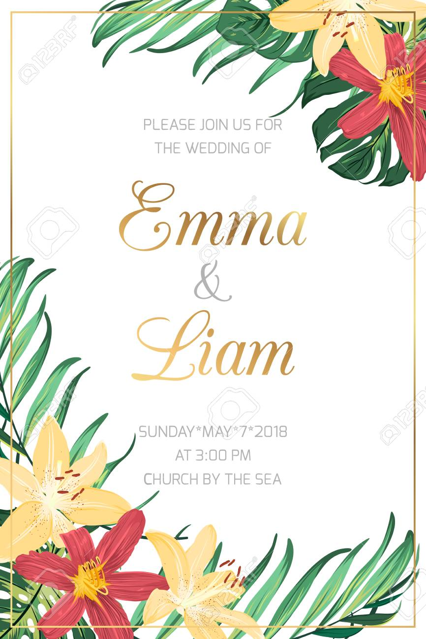 Wedding Marriage Event Invitation Card Template Red Yellow Lilly