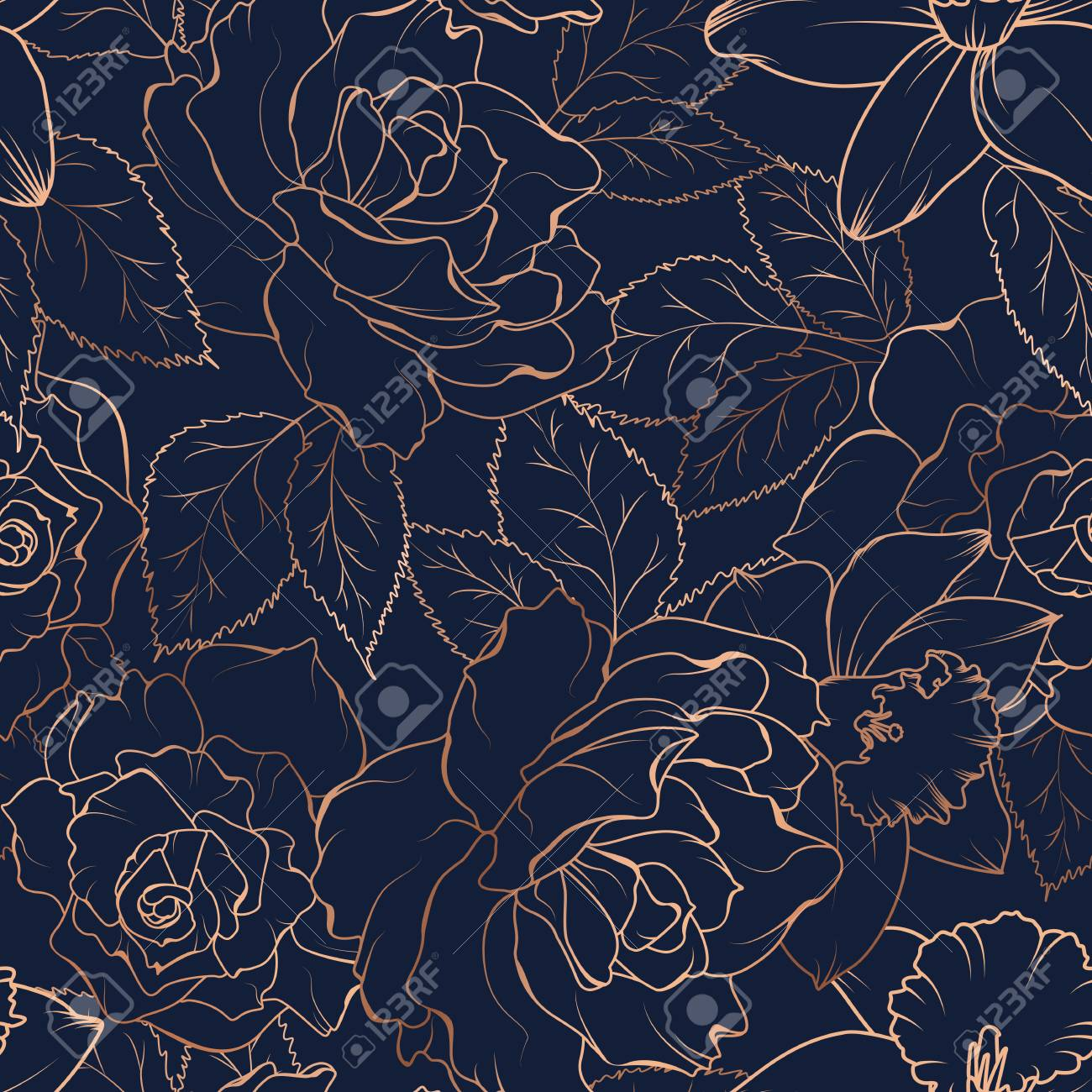Floral spring seamless pattern. Rose peony daffodil narcissus bloom blossom leaves. Copper gold shiny outline navy dark blue background. Vector illustration for fashion, textile, fabric, decoration. - 115833145