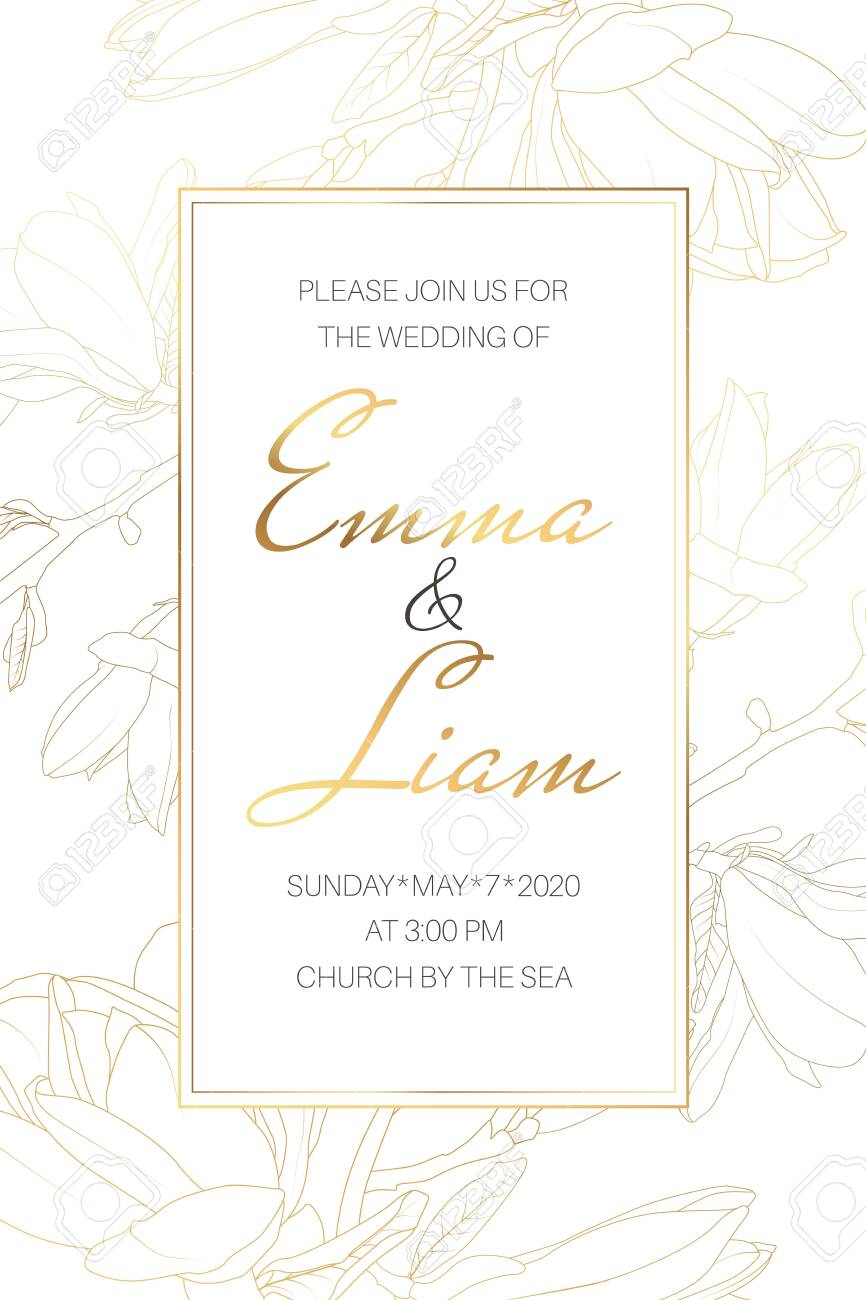 Wedding Marriage Event Invitation Card Template Spring Magnolia