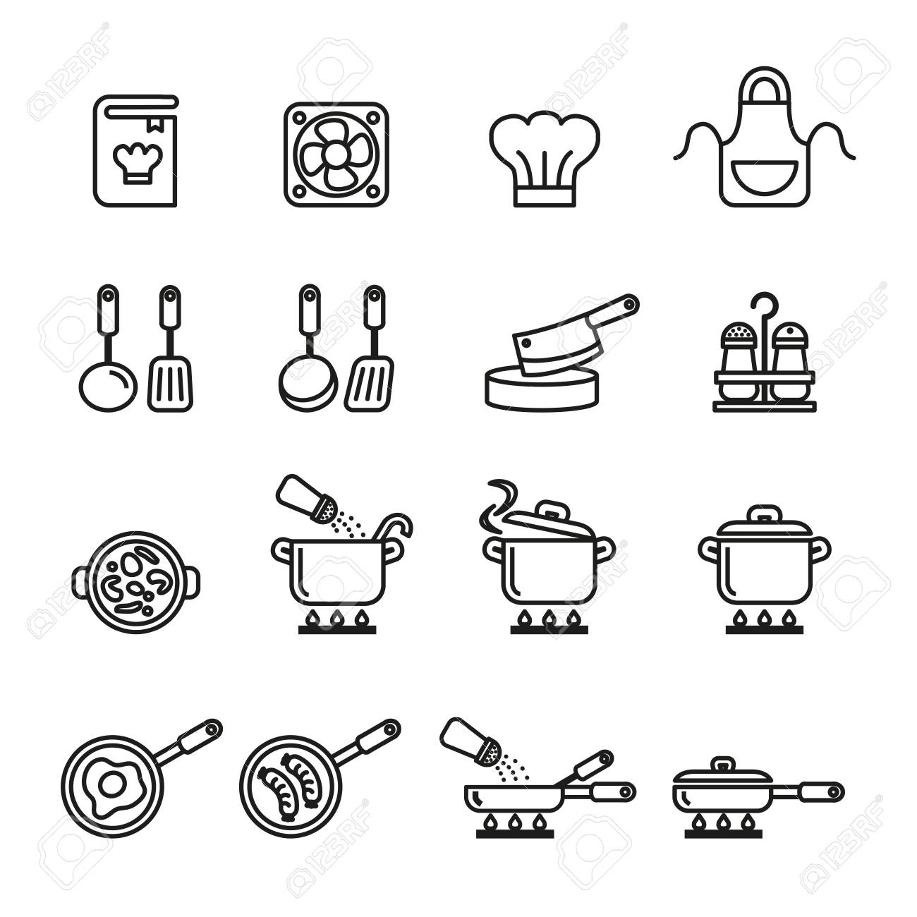 A cooking, kitchen tools and utensils icons set. Line Style stock vector. - 80331980