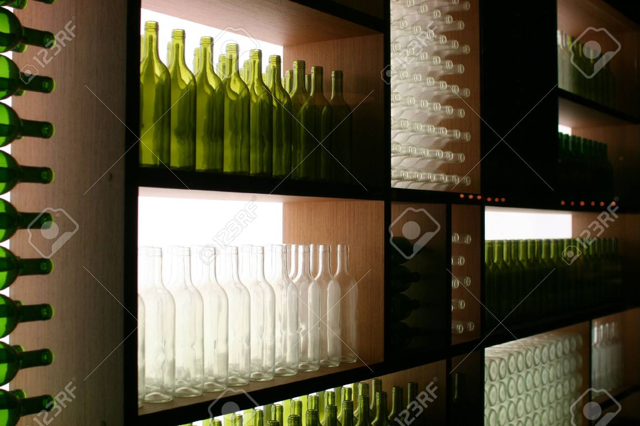 Display of Green and White Bottles Stock Photo - 4468174