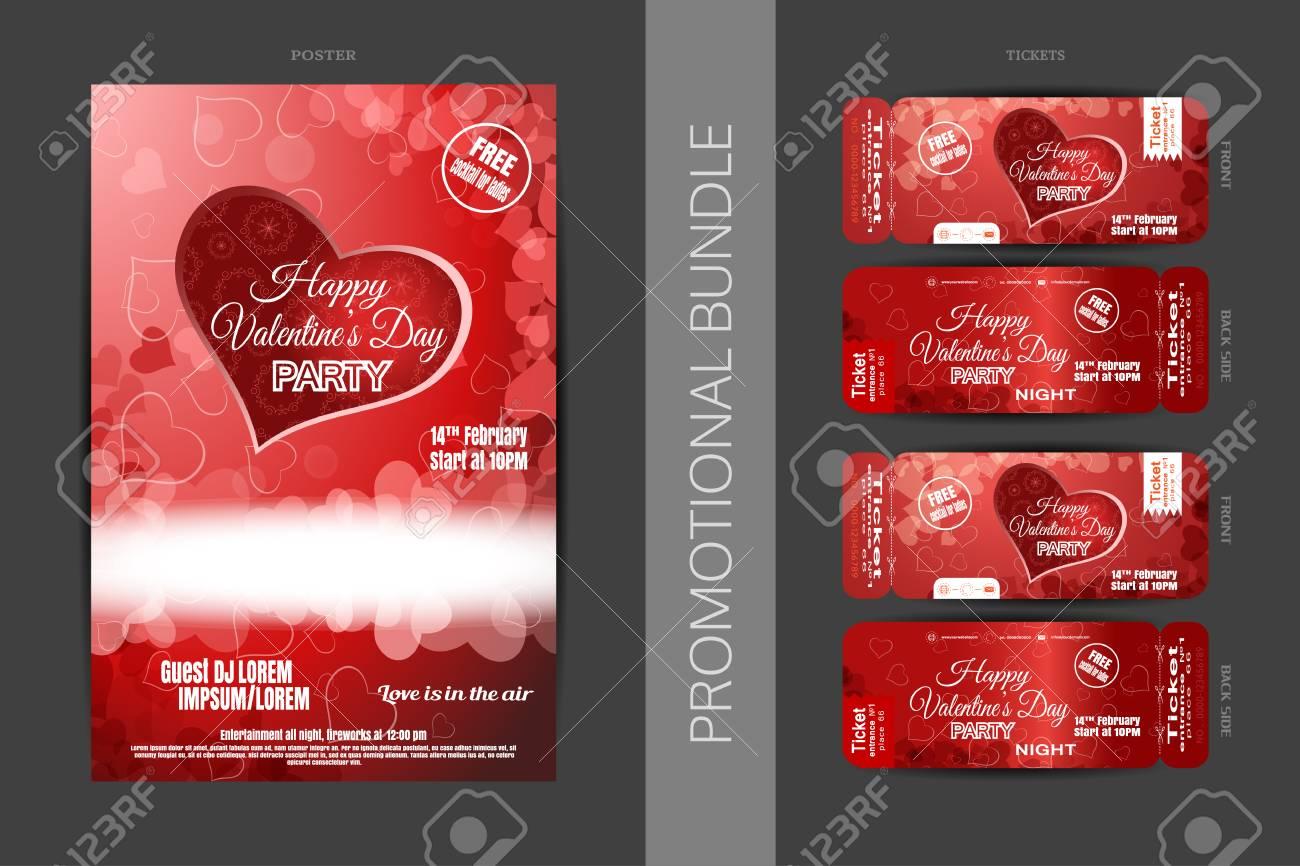 幸せなバレンタインの日の夜党プロモーション バンドル赤いポスターや ...