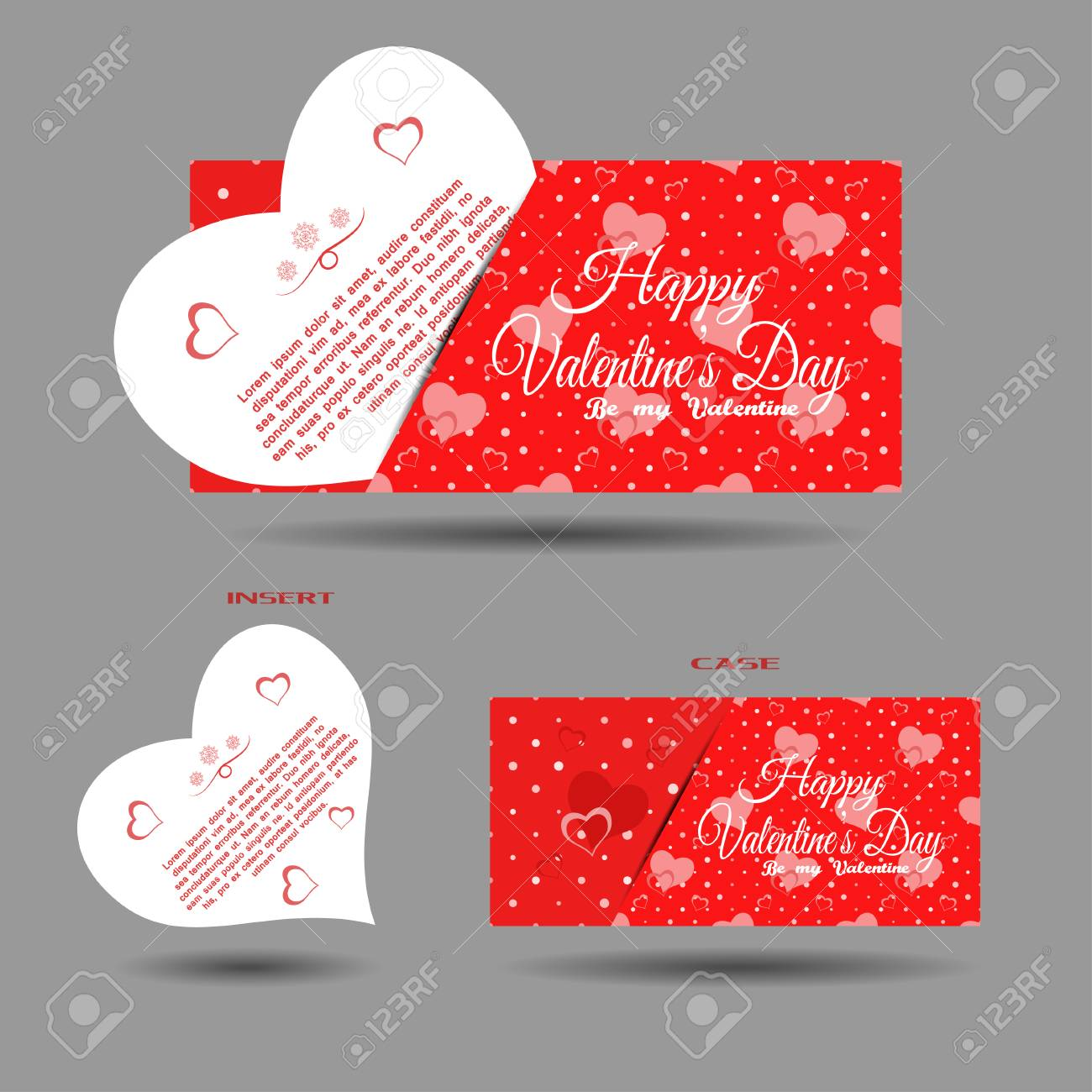 Vector set of greeting card with insert and red pattern on the vector vector set of greeting card with insert and red pattern on the gray background m4hsunfo
