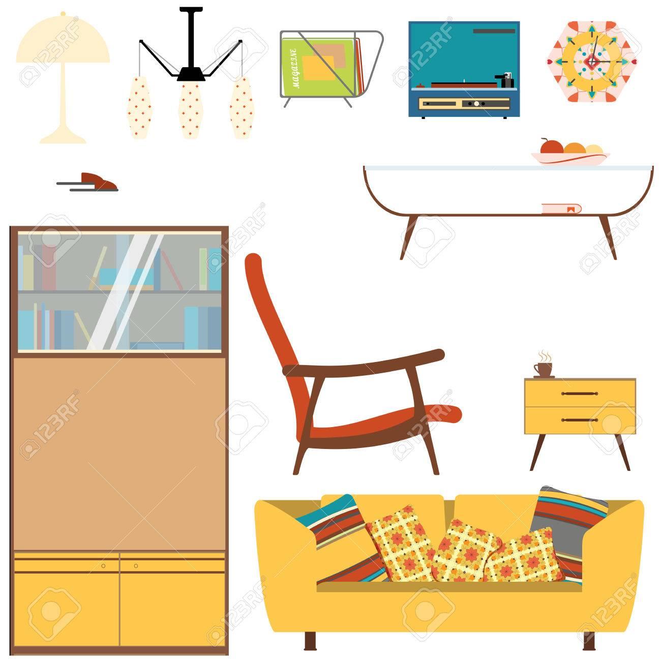 Set Wohnzimmer Wohnzimmer Mit Gelben Sofa, Bücherregal Und Sessel Im Stil  Der 70er Jahre.