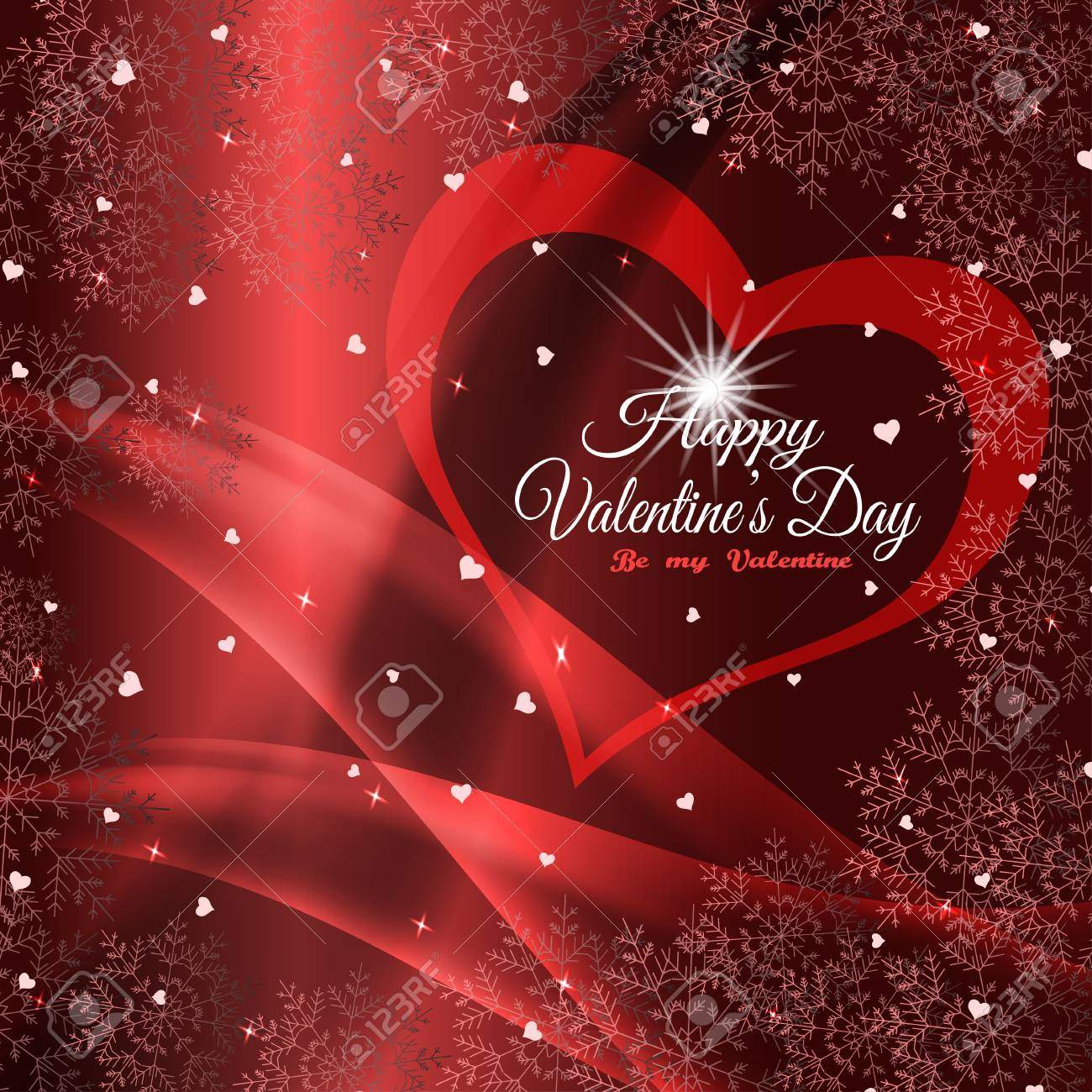 Vector Happy Valentine S Day Poster On The Gradient Red Background