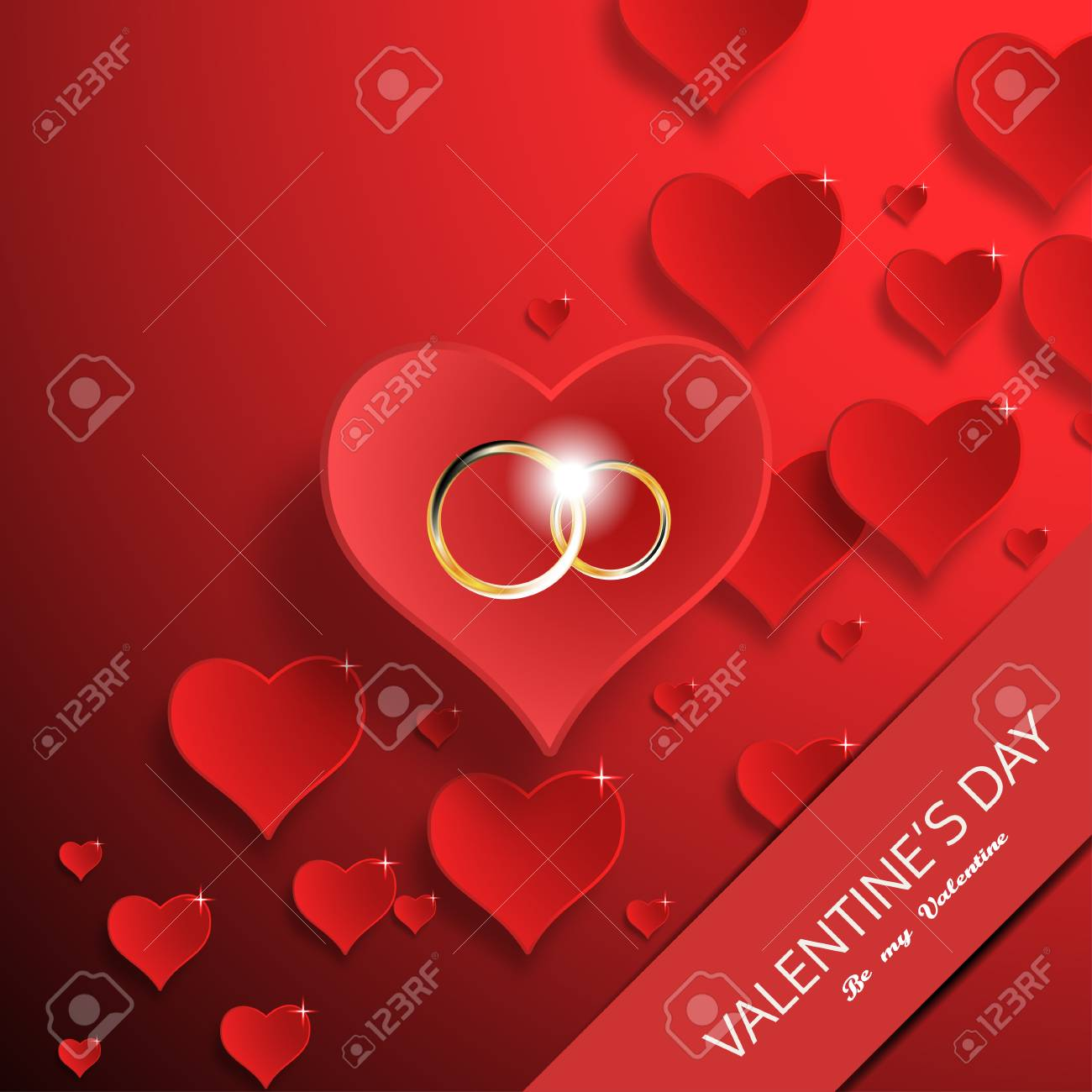 62f6389e9d9e4 Vector greeting card to Happy Valentine's Day with red paper..