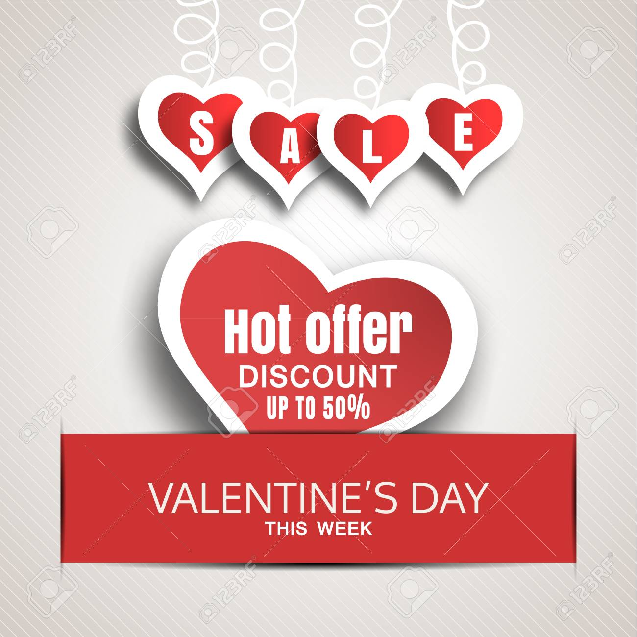 b521f78870 Vector - Vector promotional red poster of Happy Valentine s Day sale with  red paper heart insert in the red slot with shadow.