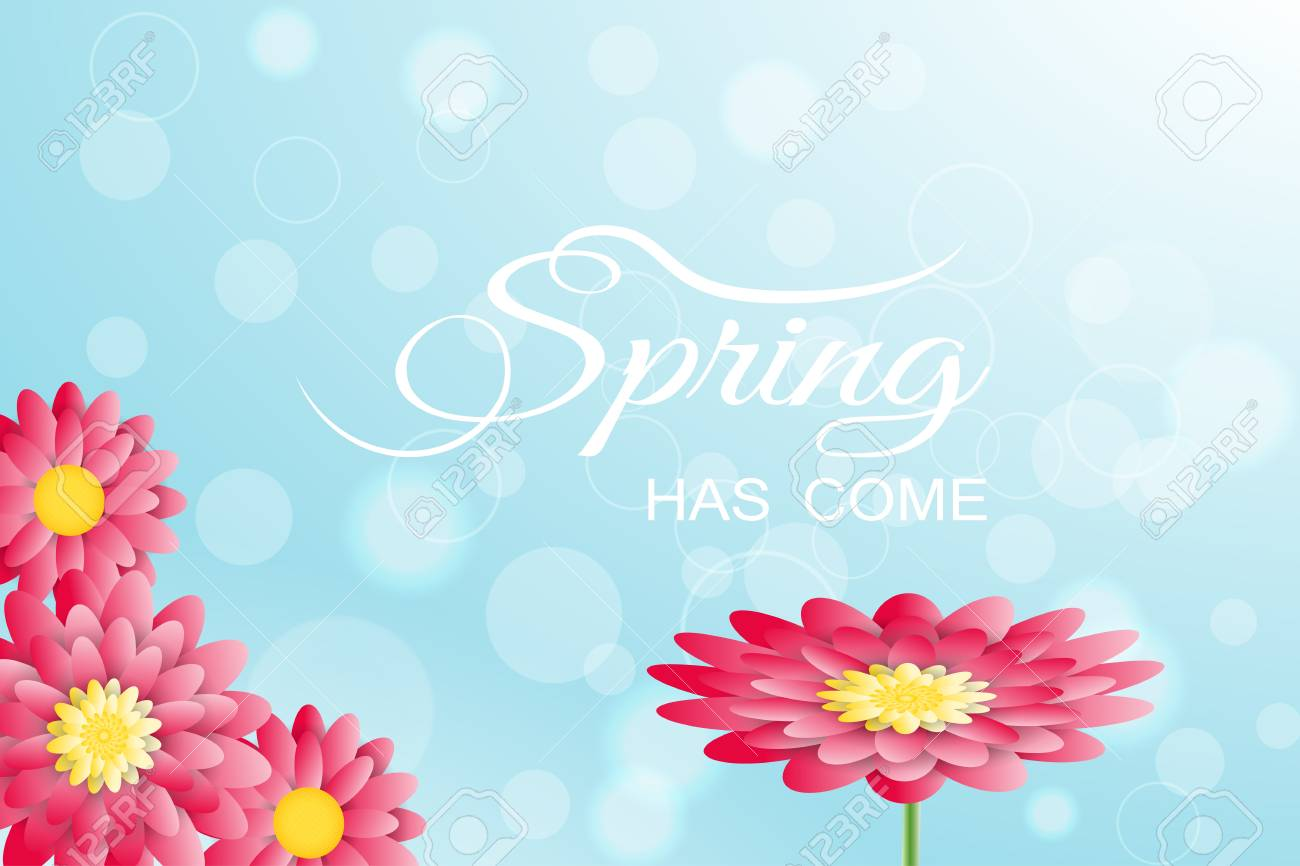 Vector Illustration Of Spring Has Come On The Gradient Light