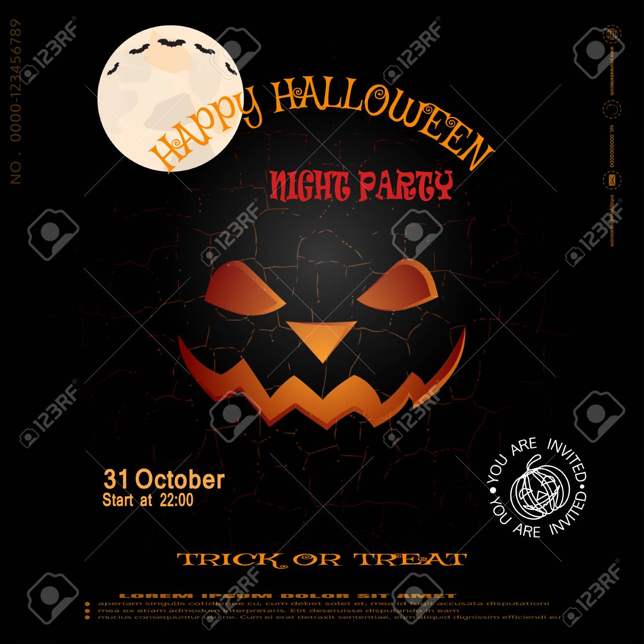 Good Vector   Vector Poster To Happy Halloween Night Party On The Dark Gray  Background With Pattern Of Cracked Ground.