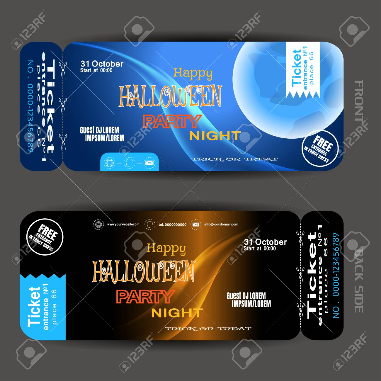 Happy Halloween Night Party With Blue Full Moon. Stock Vector   87923680