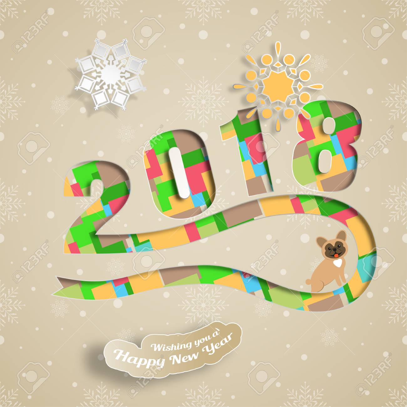 Vector Paper Art For Happy New Year With Snowflake Dog Text