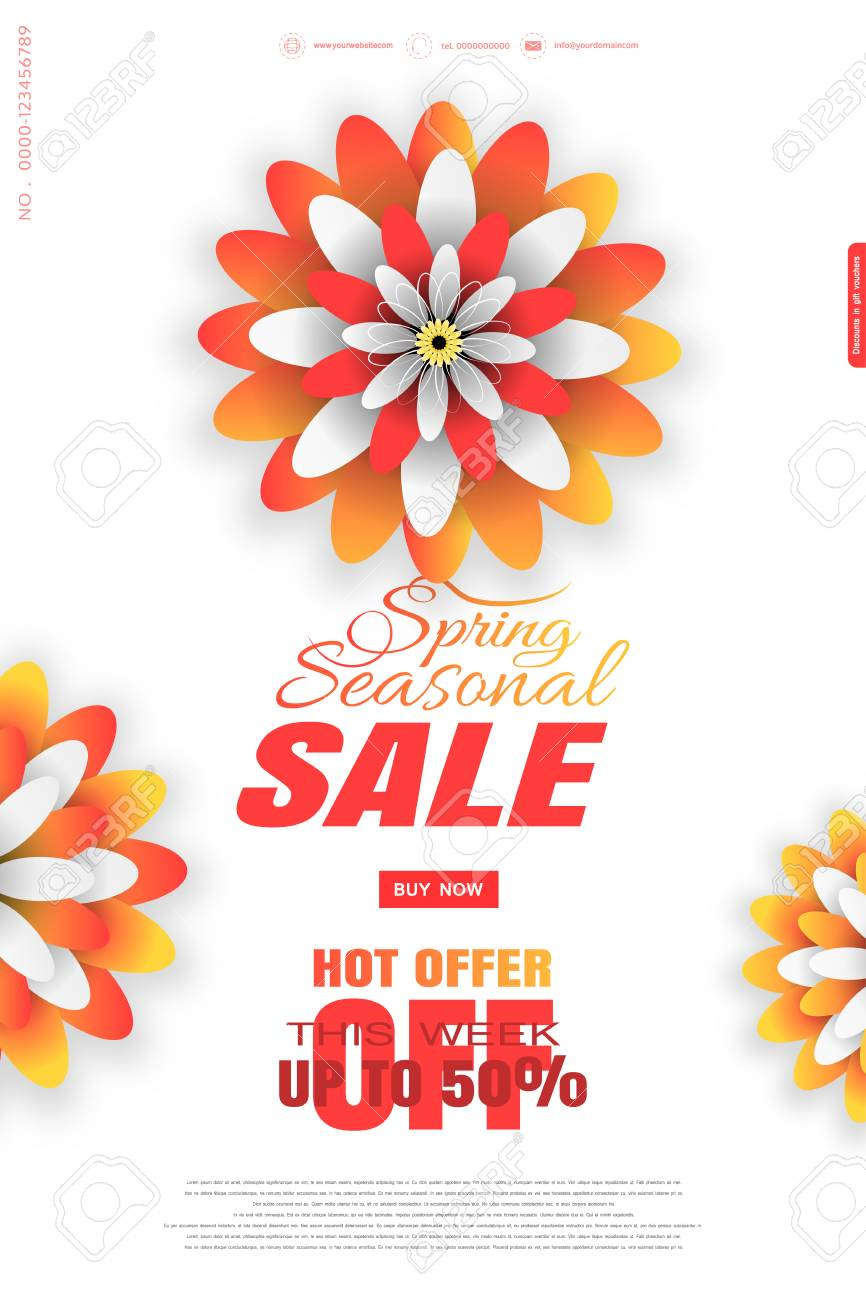 Seasonal Spring Sale Vector Promotional Poster On The White