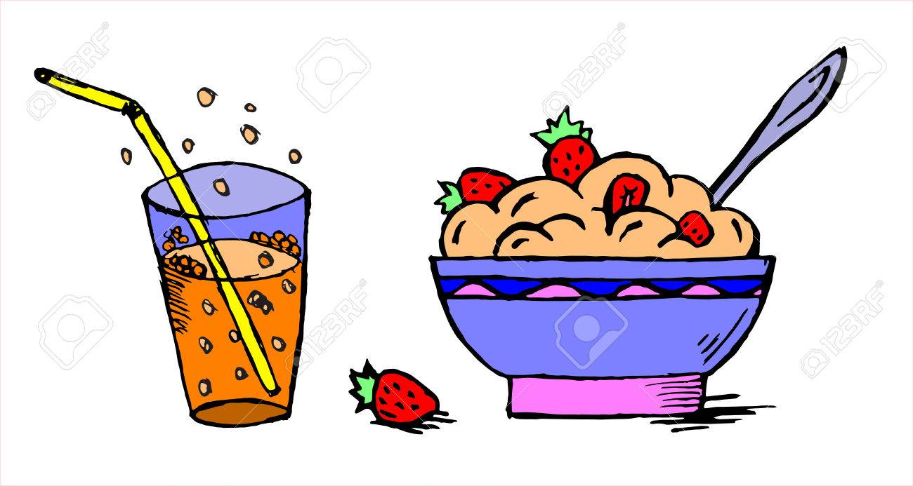 dish of oatmeal with a strawberry and glass of soda pop royalty free rh 123rf com