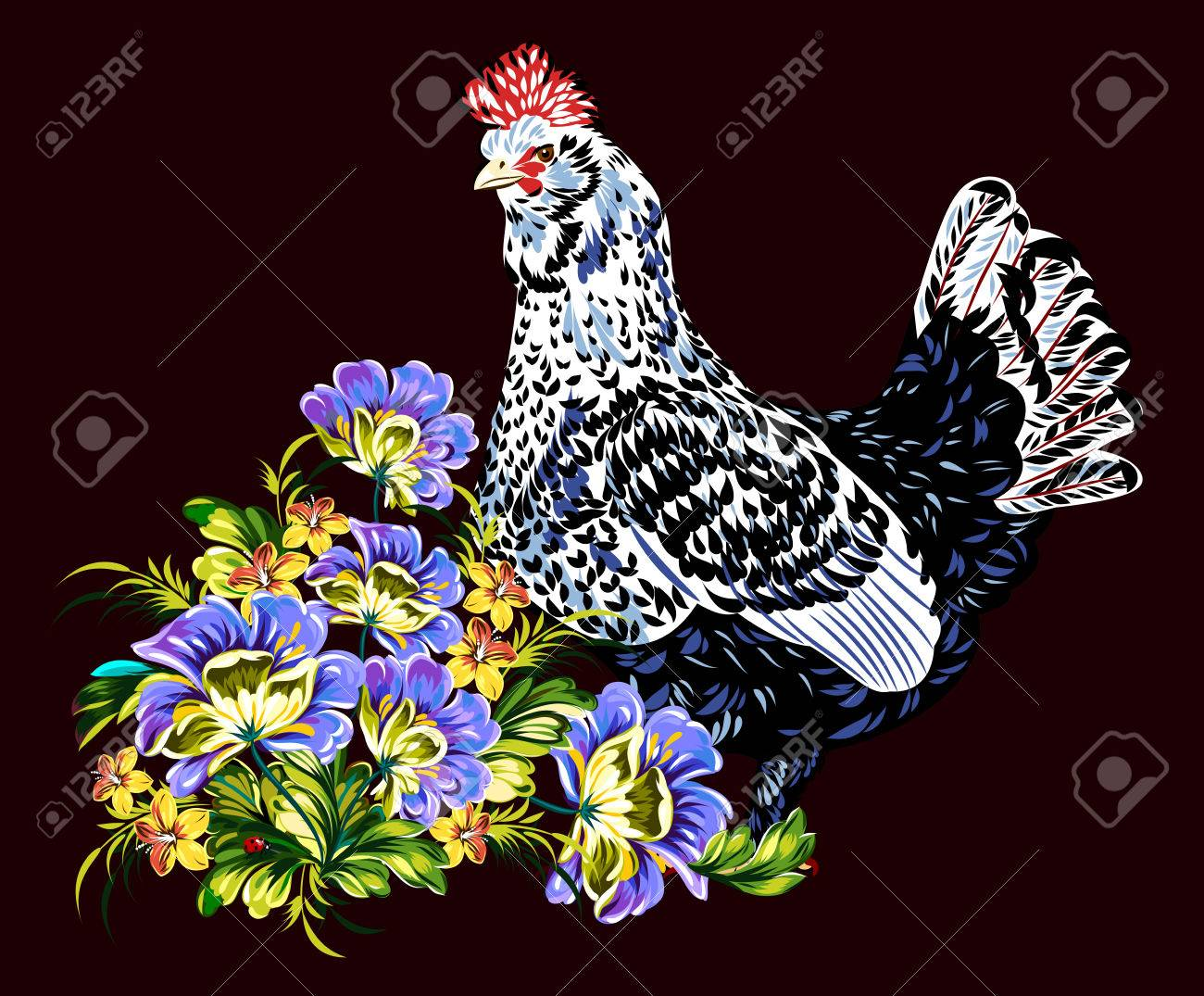 Image Of Elegant Beautiful Chicken With Colorful Feathers Symbol