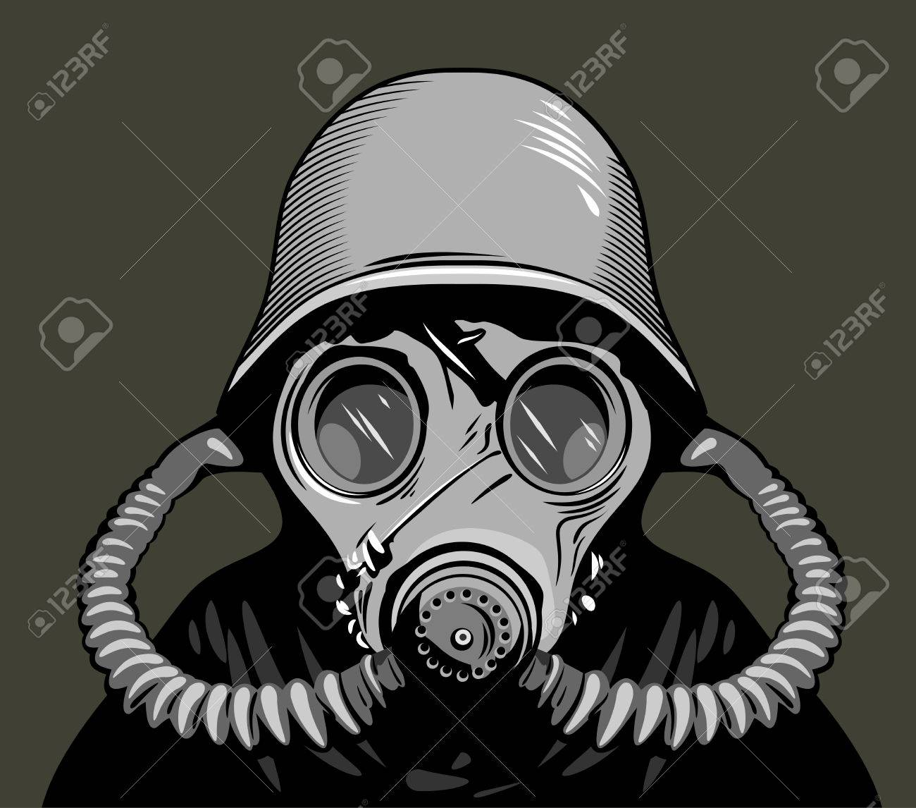 a soldier in a gas mask and protective helmet royalty free cliparts