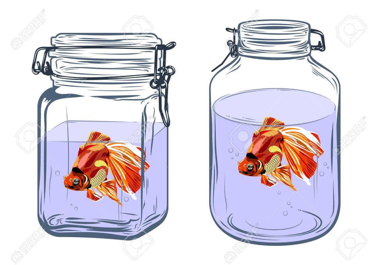 Dessin Avec La Main bouteilles, formes rondes et carrées, avec un poisson rouge à l'intérieur,  le dessin à main levée