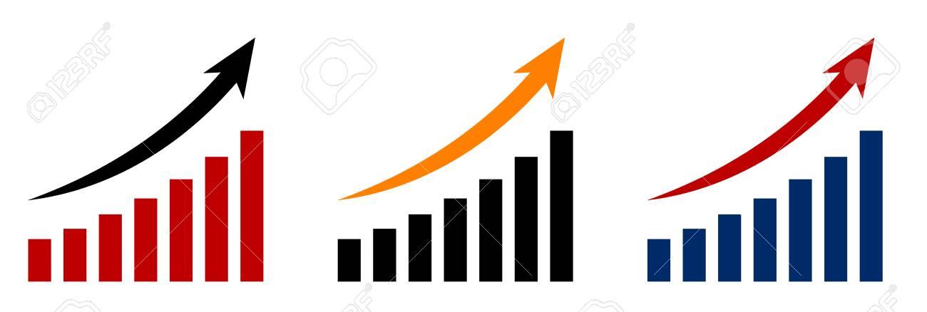 矢印と増加グラフのイラスト素材・ベクタ - Image 69075270.