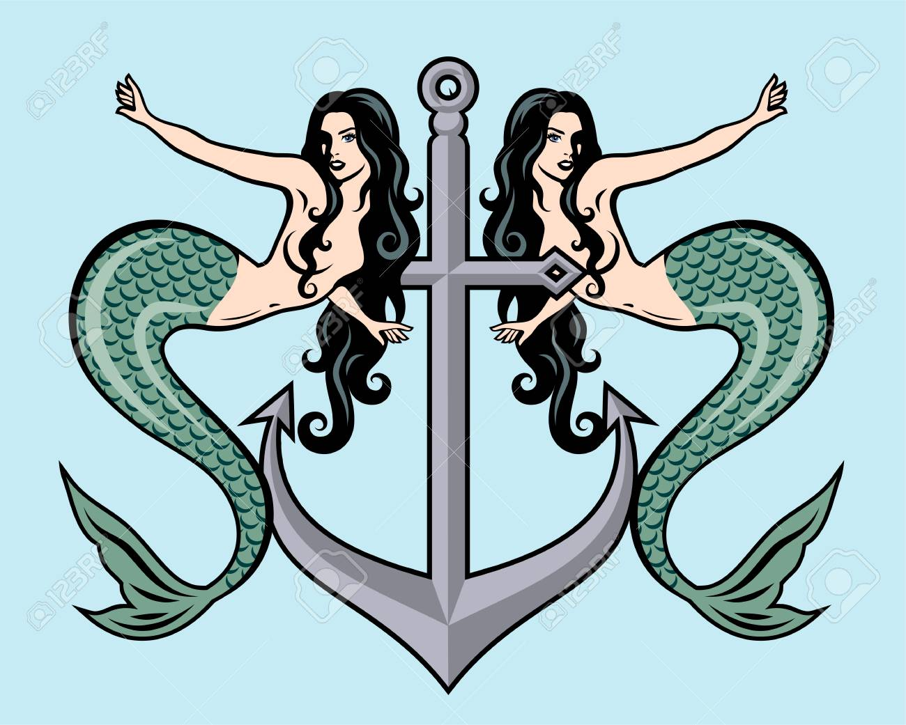 e3be8539e The image of a mermaid in the traditional style of Old school tattoo pin-up