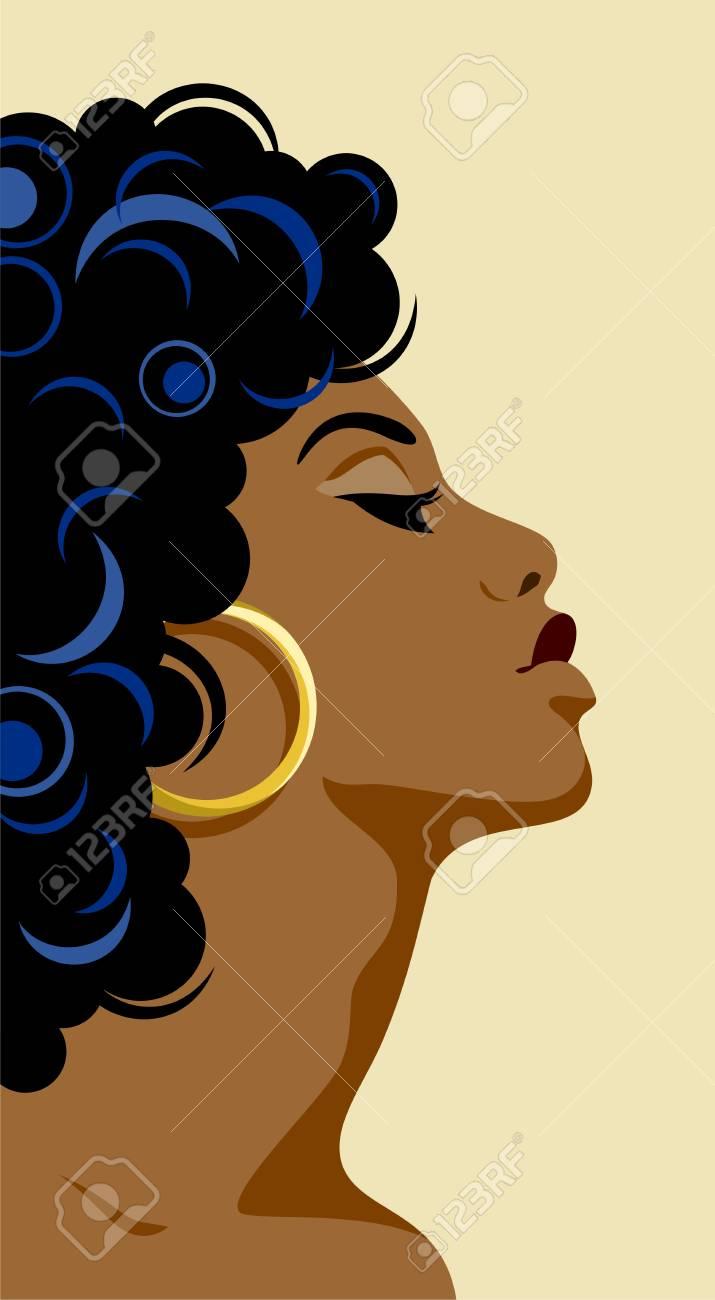 Flat portrait of a beautiful dark-skinned girl - 122683799